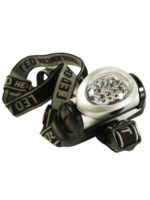 Hands-free headlamp with LED green light.
